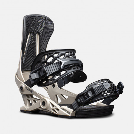 Jones Mercury Snowboard Bindings featuring SkateTech, shown in gray color, quarter front view