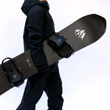 Jones Men's Project X Snowboard, close up detail with Jones bindings