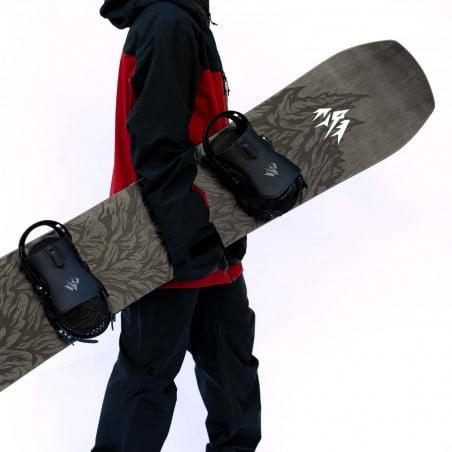 Jones Men's Ultra Mountain Twin Snowboard detail shot with Jones bindings