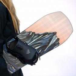 Jones Women's Twin Sister Snowboard close up shot with Jones bindings