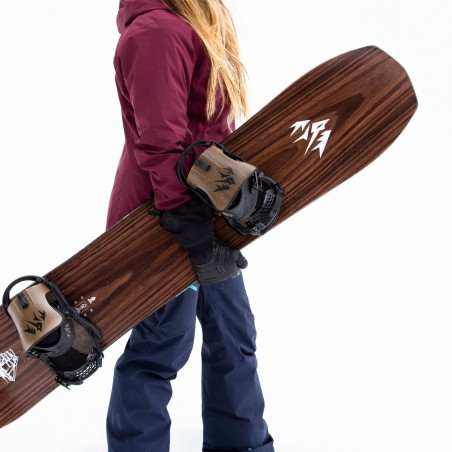 Jones Women's Flagship Snowboard, close up detail with Jones bindings